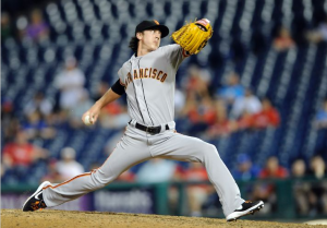 San Francisco Giants pitcher Tim Lincecum pitches in relief against the Philadelphia Phillies on July 22, 2014